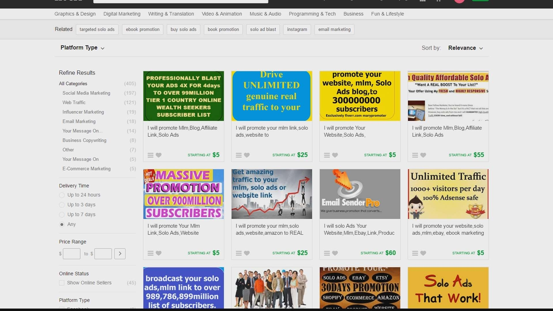 solo ads from fiverr